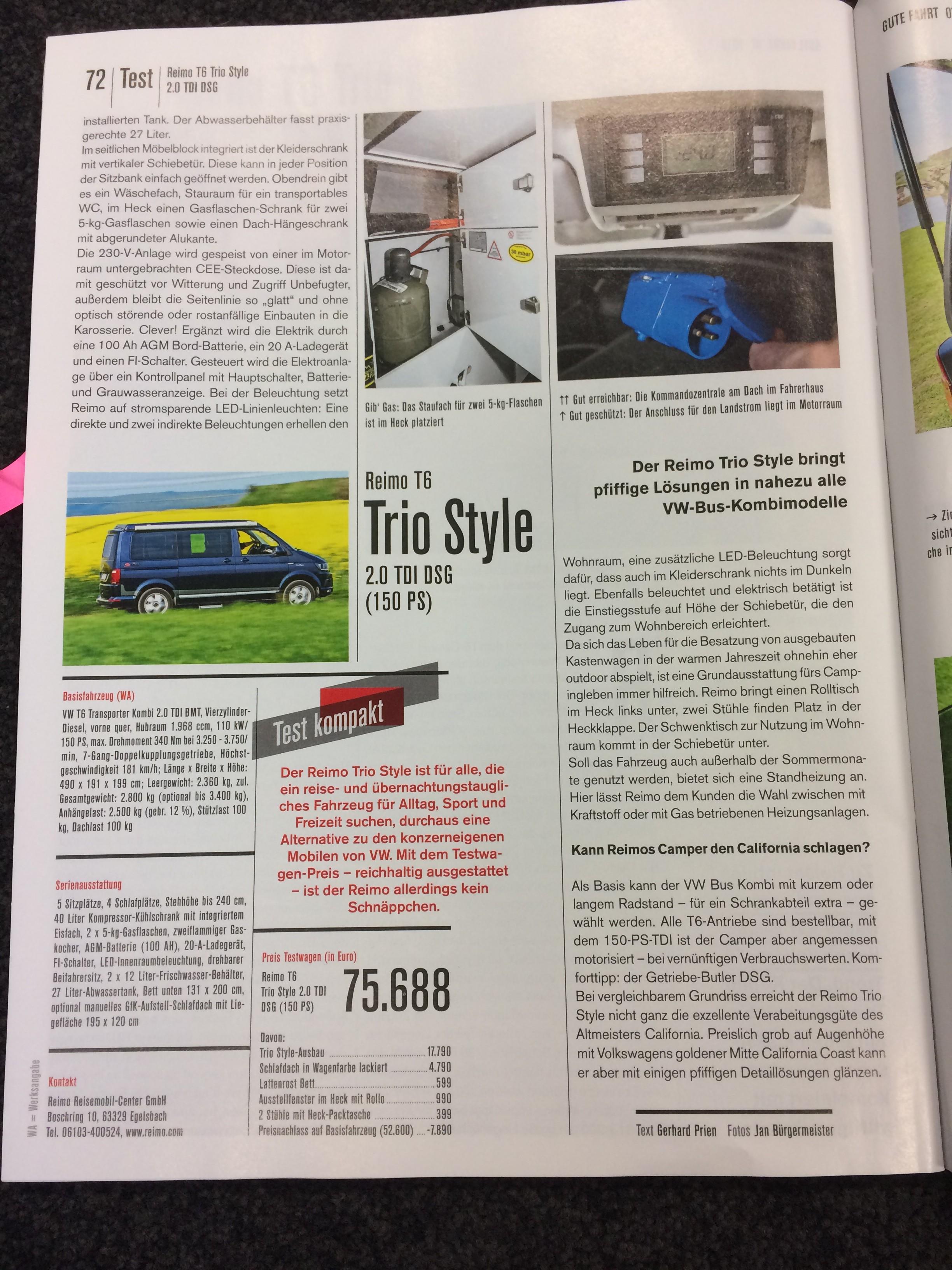Testbericht T6 Campingbus Reimo Tri Style